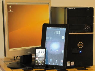 Pictured: PC, Droid X Android Smartphone, Android tablet